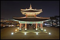 Seojangdae (western command post) and city lights, Suwon. South Korea ( color)