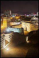 Hwaseomun gate at night, Suwon Hwaseong Fortress. South Korea ( color)