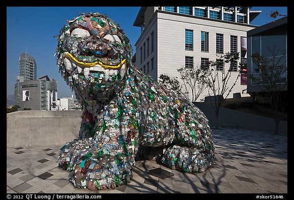 Sculpture made of recycled water bottles, Dongdaemun. Seoul, South Korea (color)
