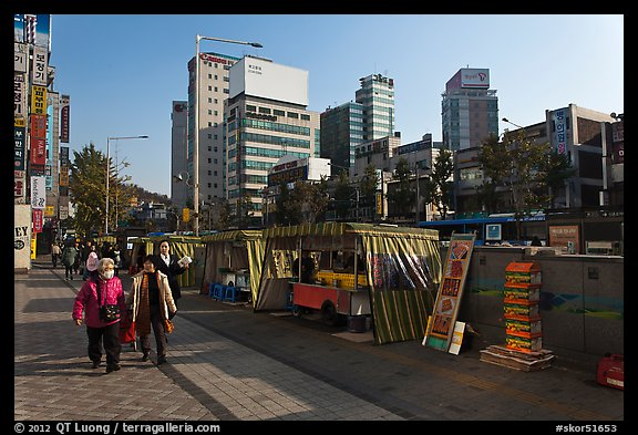 Street lined up with food stalls. Seoul, South Korea (color)