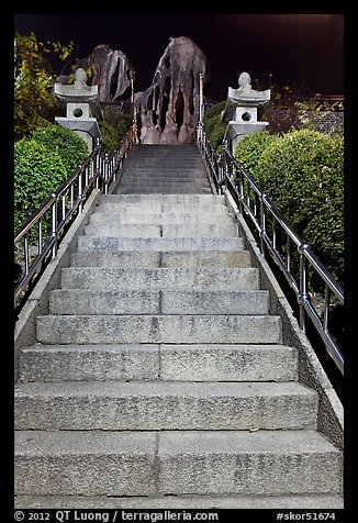 Stairs leading to sacred rocks, Seon-bawi. Seoul, South Korea
