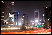 Large boulevard, lights, and high rises. Seoul, South Korea ( color)