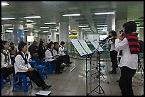 Music concert in subway. Daegu, South Korea (color)