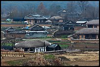 Straw roofed houses and tile roofed houses. Hahoe Folk Village, South Korea ( color)