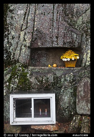 Shrine with candles and flowers, Mt Namsan. Gyeongju, South Korea