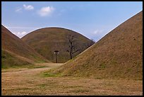 Large burial mounds. Gyeongju, South Korea (color)