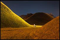 Burial mounds and tombs at night. Gyeongju, South Korea (color)
