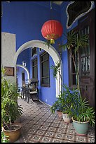 Blue exterior gallery, Cheong Fatt Tze Mansion. George Town, Penang, Malaysia