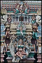 Sculpture on tower of hindu temple. George Town, Penang, Malaysia ( color)