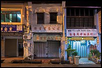 Storehouses at night. George Town, Penang, Malaysia