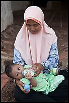 Mother and infant, St Paul Hill. Malacca City, Malaysia (color)