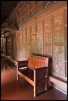Wood panel and chair, sultanate palace. Malacca City, Malaysia (color)