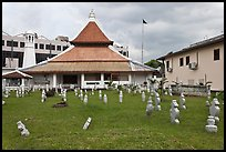 Cemetery, Mosque, and Moorish watchtower minaret. Malacca City, Malaysia (color)