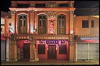 Restaurant facade at night. Malacca City, Malaysia