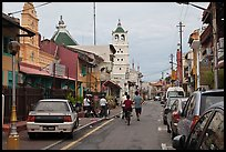 Harmony Street, featuring Hindu and Chinese Temples and a mosque. Malacca City, Malaysia ( color)
