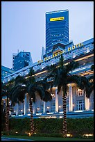 Fullerton Hotel and Maybank tower at dusk. Singapore ( color)