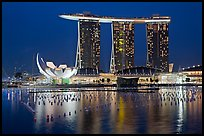 Marina Bay Sands and harbor at night. Singapore (color)
