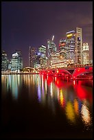 Bridge and city skyline at night. Singapore ( color)