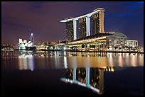 Marina Bay Sands resort and bay reflection at night. Singapore