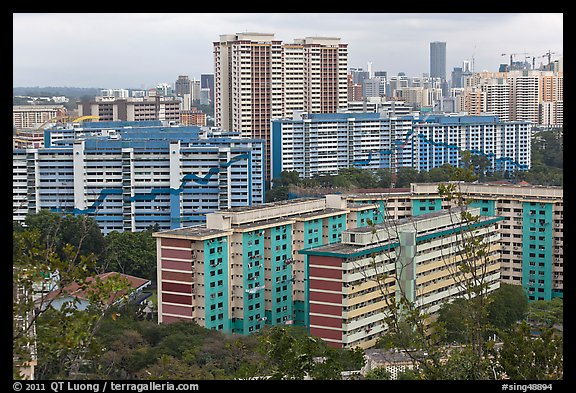 Appartment buildings from Mt Faber. Singapore (color)