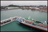 Cruise ship and Sentosa Island. Singapore ( color)