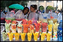 Cups of fresh fruits offered for sale on the street. Guadalajara, Jalisco, Mexico