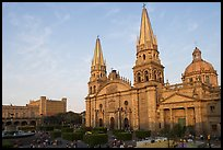 Cathedral and Plaza de los Laureles. Guadalajara, Jalisco, Mexico (color)