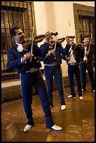 Mariachi musicians at night, Tlaquepaque. Jalisco, Mexico (color)
