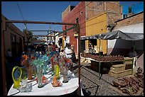 Stands in the sunday town-wide arts and crafts market, Tonala. Jalisco, Mexico
