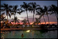Palm-tree fringed swimming pool at sunset, Nuevo Vallarta, Nayarit. Jalisco, Mexico ( color)