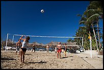 Vacationers playing beach volley-ball, Nuevo Vallarta, Nayarit. Jalisco, Mexico