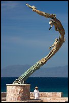 Sculpture called Los Milenios by Fernando Banos on waterfront, Puerto Vallarta, Jalisco. Jalisco, Mexico (color)