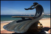 Sculpture by Bustamante on the seaside walkway with beach in the background, Puerto Vallarta, Jalisco. Jalisco, Mexico