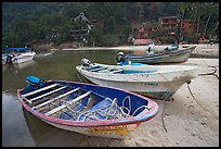 Small boats beached in a lagoon in fishing village, Boca de Tomatlan, Jalisco. Jalisco, Mexico ( color)