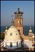 Templo de Guadalupe and ocean, morning, Puerto Vallarta, Jalisco. Jalisco, Mexico ( color)