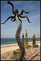 Sculpture on Circle of the Sea next to the beach, Puerto Vallarta, Jalisco. Jalisco, Mexico