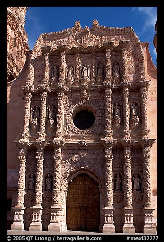 Churrigueresque carvings on the facade of the Cathdedral. Zacatecas, Mexico