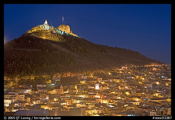 Cerro de la Bufa and town at night. Zacatecas, Mexico