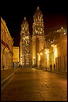 Hidalgo Avenue and Cathedral at night. Zacatecas, Mexico