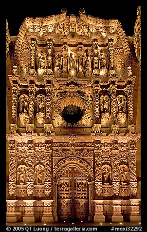 Illuminated churrigueresque carvings on the facade of the Cathdedral. Zacatecas, Mexico