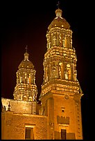 Churrigueresque towers of the Cathedral by night. Zacatecas, Mexico