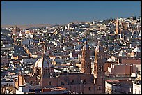 Panoramic view of Cathedral and town, morning. Zacatecas, Mexico (color)