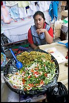 Woman and plater with typical vegetables. Guanajuato, Mexico (color)