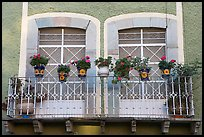 Balcony with potted flowers. Guanajuato, Mexico