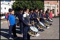 Children practising in a marching band. Guanajuato, Mexico (color)