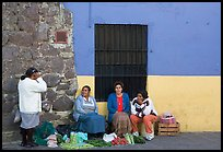 Women selling vegetables on the street. Guanajuato, Mexico