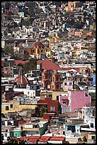 View of the city center with churches and roofs, mid-day. Guanajuato, Mexico (color)