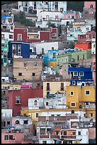 Vividly colored houses on steep hill. Guanajuato, Mexico ( color)