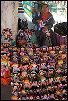 Woman selling Traditional puppets. Guanajuato, Mexico