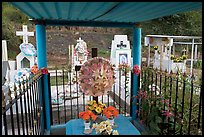 Covered tomb in a cemetery. Mexico